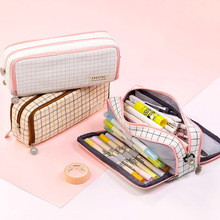 Multifunction Zipper Pencil Case Grid Canvas Pen Case Pencil Bag Girl Gift Washable School Supplies Student Korean Stationery
