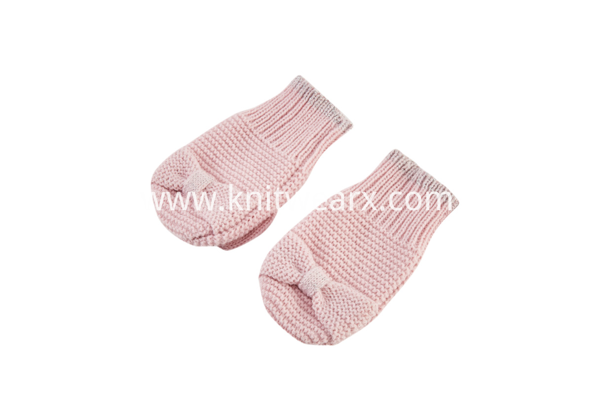 Girls' Cute Bowknot Mittens Winter Warm Knit Gloves