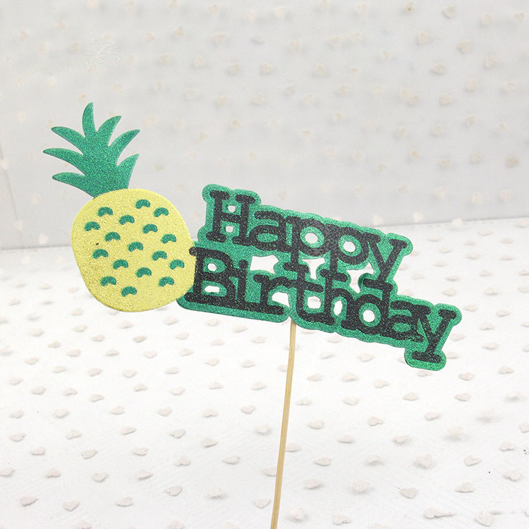 Cake Toppers Pineapple Happy Birthday Love Cake Topper Cupake Flags Wedding Valentine DIY Decor Supplies Kids Party