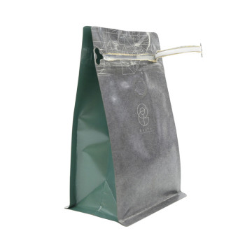 Good Seal Ability Box Bottom Zipper Tea Brown Kraft Paper Bag For Loos Tea