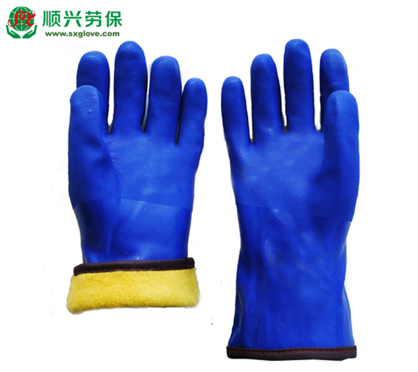 Blue PVC Coating Fleece Thermal Lined Warm Gloves