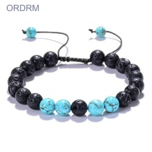 Mens adjustable turquoise lava rock bead bracelet