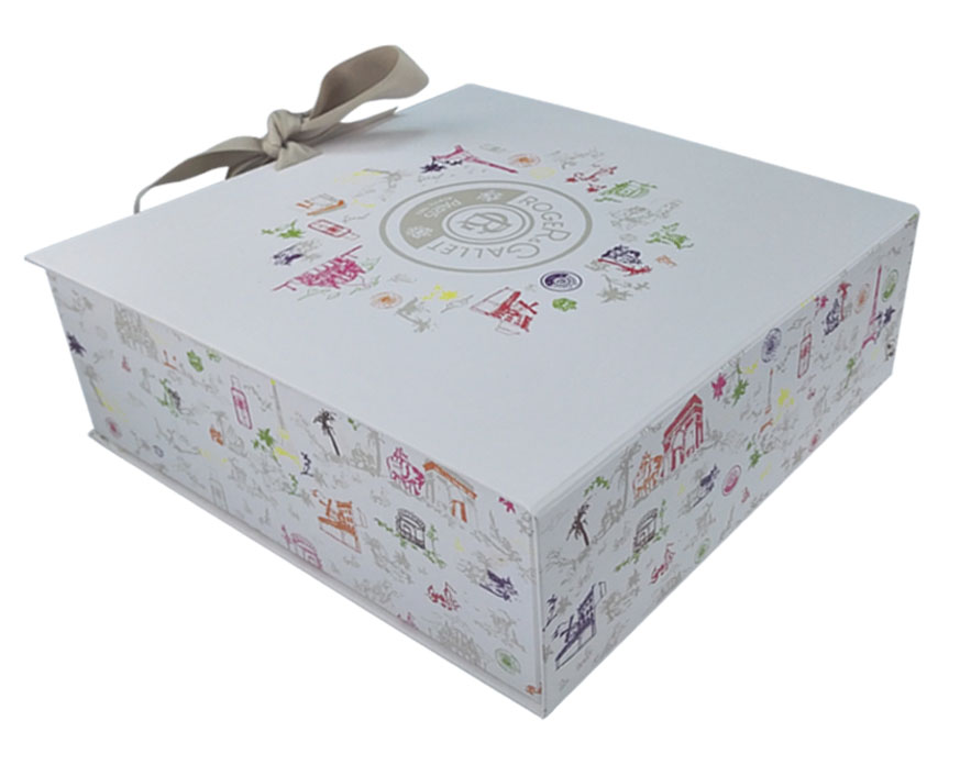 Custom Printed Christmas Collapsible Gift Box with Ribbon