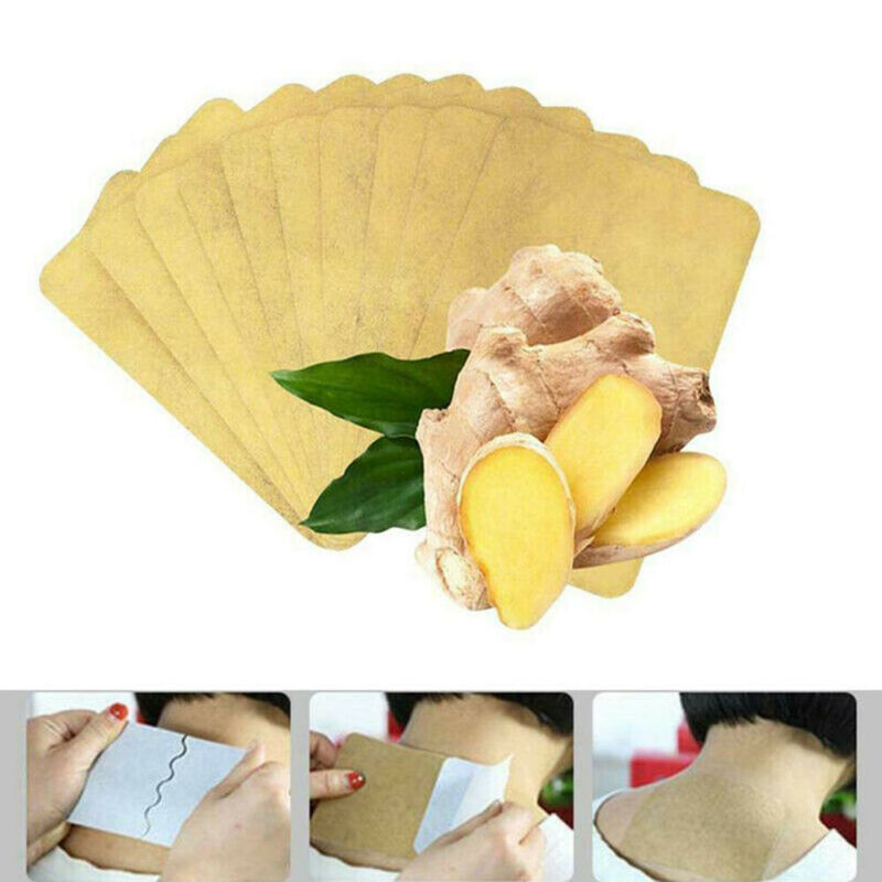 Lymphatic Detox Healing Ginger 10pc Body Neck Knee Pad Pain Relief Swelling Ginger Adhesive Pads Ginger Detox Patch Foot Care