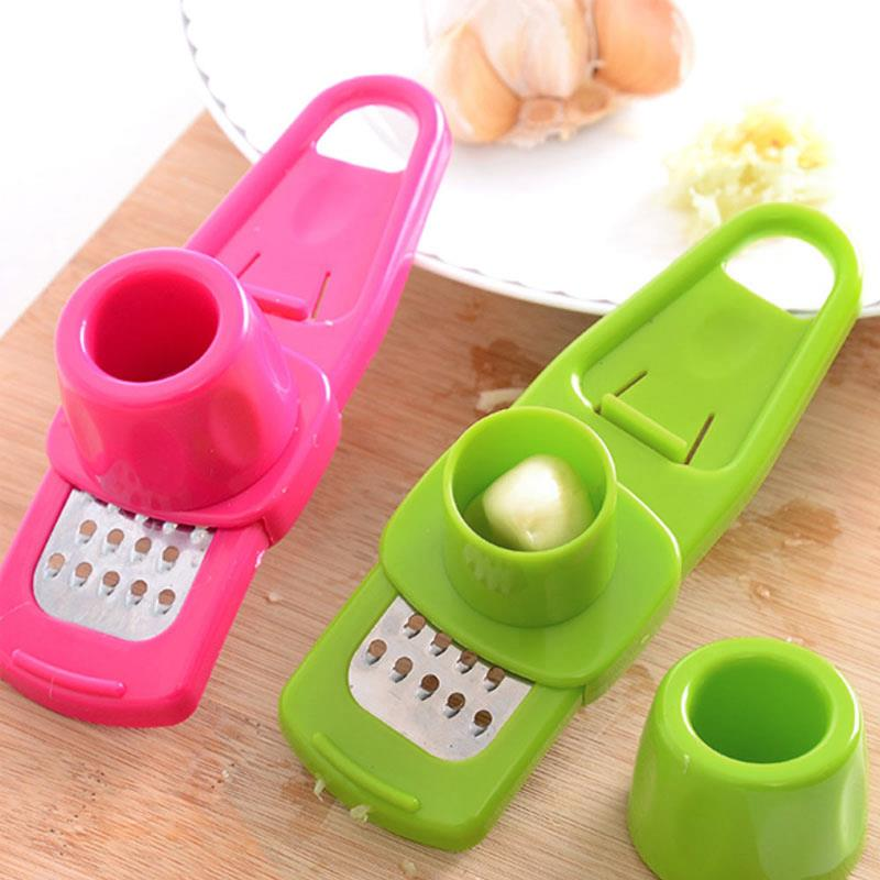 Kitchen Parts Garlic Press Squeezer Ginger Stainless Steel Mincer Cooking Tool Presse ail Crusher Vegetable Peeler Random Color