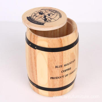 Pine Natural Wooden Coffee Barrel Coffee Storage