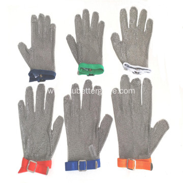 Welded steel ring mesh butcher gloves