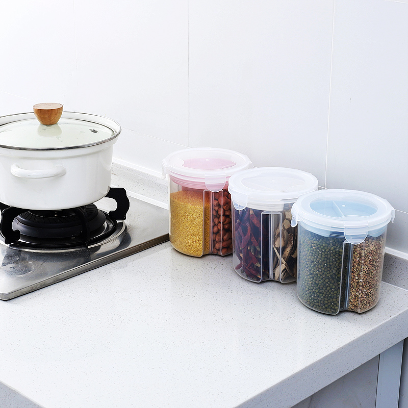 Household Food Grade Sealed Cans Kitchen Grains Cans Food Sealed Storage Tanks Rice Beans Compartments Plastic Storage Boxes
