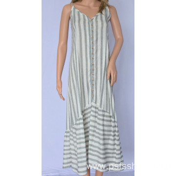Women Pleated Dress with Striped Hem