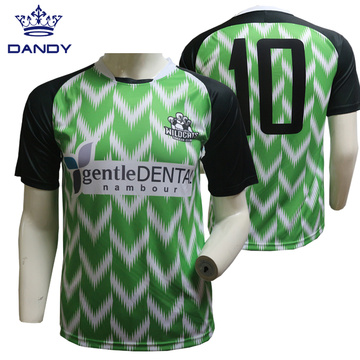 Black and green sublimated soccer shirts