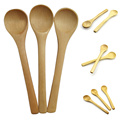 6 PCS Small Wooden Spoon Condiment Utensil Coffee Spoon Kitchen Cooking Teaspoon Kids Ice Cream Tableware Tool