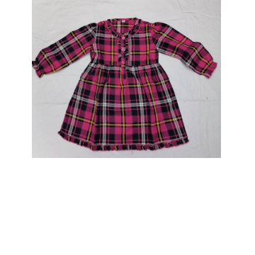 Girl's cotton y/d check dress in autummn