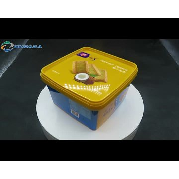 Rectangle biscuit plastic iml container with lid