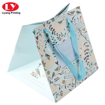 Logo printed paper bags with grossgrain ribbon