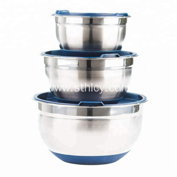 Non-Slip Stainless Steel Mixing Bowl With Lid
