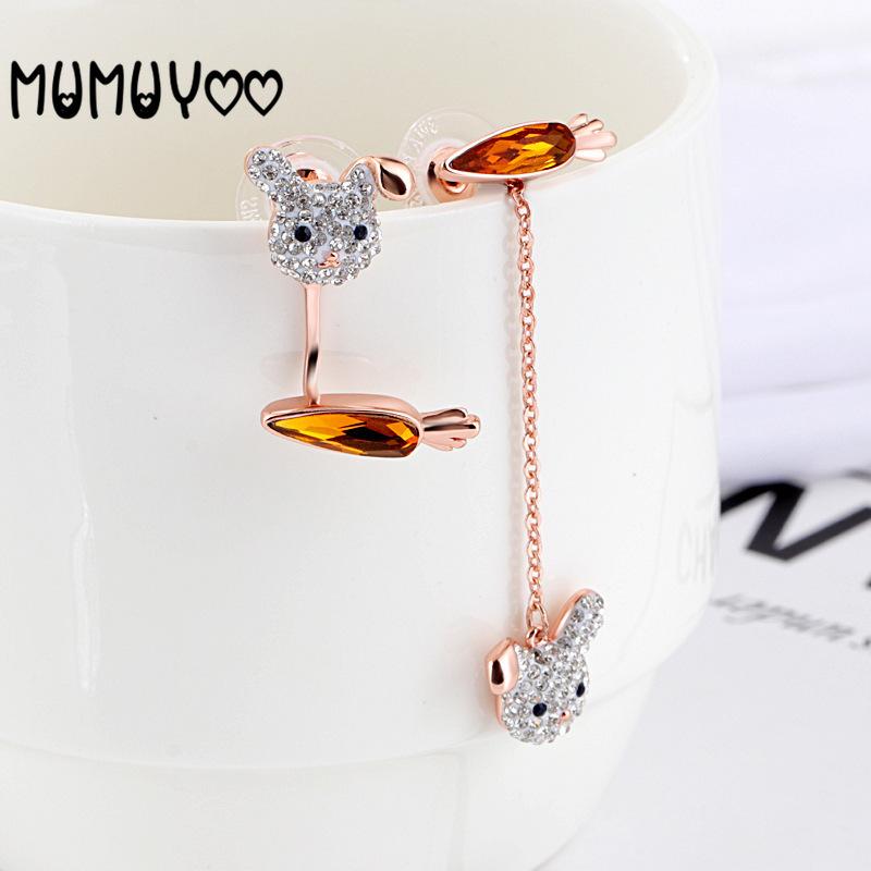 High-quality swa European and American fashion fresh cute radish rabbit asymmetrical women's earrings women jewelry.