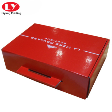 Custom printed corrugated food box with punch handle