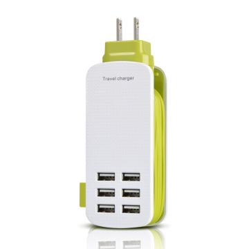 Mini Power Strip with 6-USB Ports Travel Charger