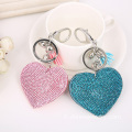 Heart Shaped strass Leather Keychain avec pendentif gland