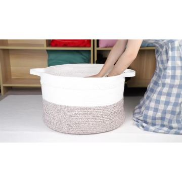 New Style Eco-Friendly Cotton Rope Foldable Storage Basket