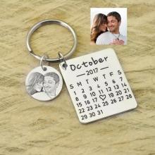 Personalized Calendar Keychain Hand Stamped Calendar Special Day Calendar Anniversary Wedding Gift Photo Keychain