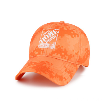 Orange digital camo outdoor cap with simple embroidery