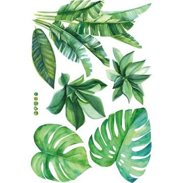 Green Banana Leaves Fresh Wall Sticker Home Art Vinyl Mural Living Room Kids Baby Room Decor Green Leaves Wallpapers