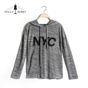 Streetwear Printed Knitted Letter Breathable Gray Sweatshirt