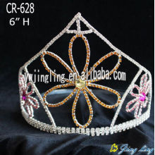 Colored rhinestone flower pageant crowns and tiaras