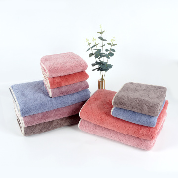 super soft jacquard  coral velvet towel set