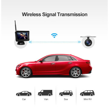 Car Wireless 4.3inch Shure Kuona Kamera ine Guideline