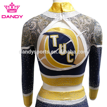Spakle Mesh Fabric Little Girls Cheer Uniforms