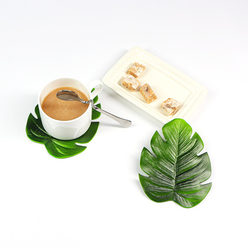 4pcs Tropical Artificial Palm Leaves EVA Coasters Cup Bowl Pad Mat Coffee Tea Cup Mats Drink Coasters Hawaii Theme Party Decor
