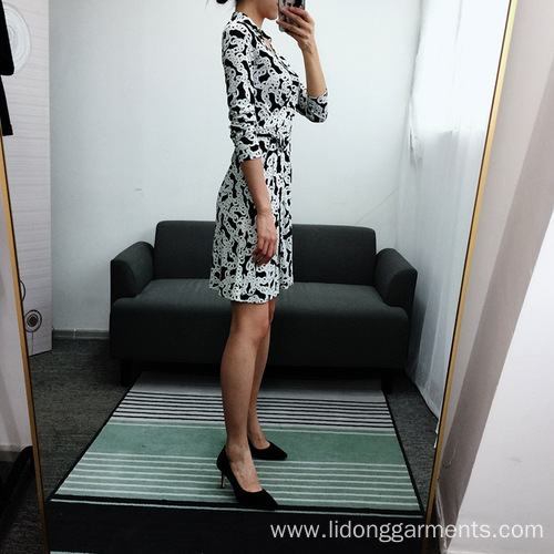 Women Office Style Casual Printed V-neck Dress
