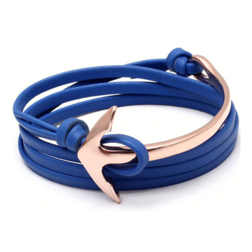 Mens leather wrap rose gold anchor bracelet