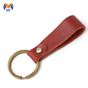 Diy blank calfskin leather keychain loop