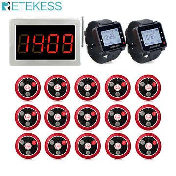 Retekess Restaurant Pager 15Pcs T117 Call Buttons Transmitter+2Pcs Watch Receiver+Receiver Host Wireless Calling System For Cafe