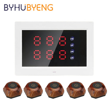 BYHUBYENG Wireless Calling Bell System Host LED Display Receiver Pagers Restaurant Paging Equipment Number Queue Ticket