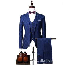 Royal Blue Wedding Pants Coat 3-piece Men's Suit