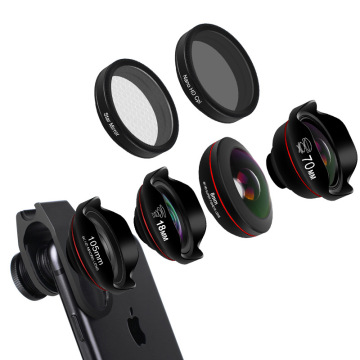 6in1 Cell Phone Camera Lens Kit Fisheye Wide Angle Macro Telescope Mobile Lenses With CPL Star Filter HD Optical Coated Lens Set
