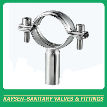 Sanitary round pipe holder with tube hanger