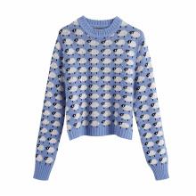 Sweet Women Cartoon Sheep Print Sweater 2020 Fashion Ladies Chic O-Neck knitted Tops Streetwear Female Cute Blue Pullovers