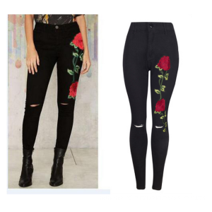 Embroidery High Rise Black Color Stretch Denim Skinny Yoga Jeans