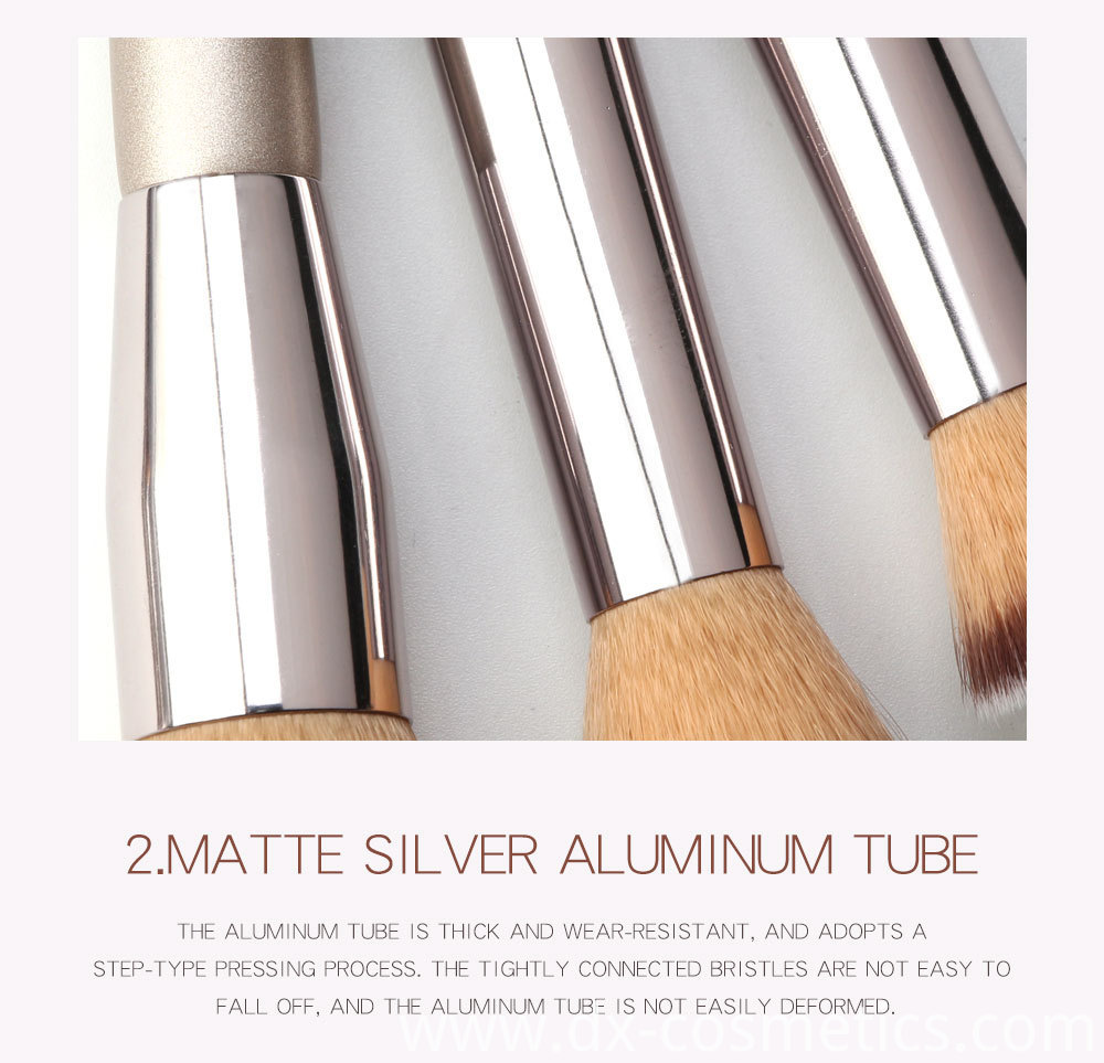 10 Piece Champagne Gold Makeup Brushes -aluminium tube