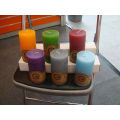 scented pouring pillar candle with colour