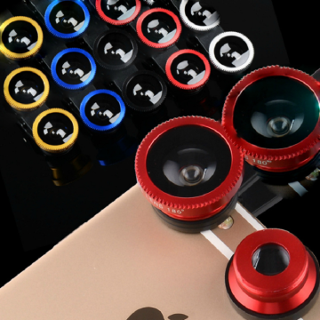 3-in-1 Wide Angle Macro Fisheye Lens Camera Kits Mobile Phone Fish Eye Lenses with Clip for iPhone Samsung All Cell Phones