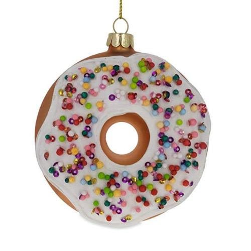 Donut Shaped Customized Blown Painted Glitter Christmas Glass Ornaments