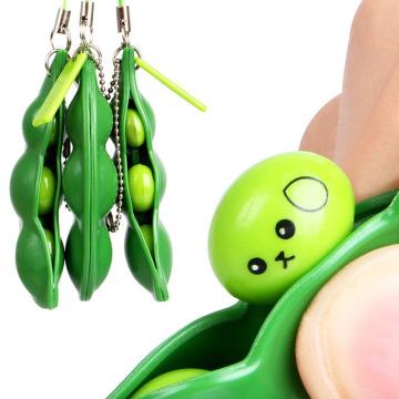 1pc Squishy Infinite Squeeze Edamame Bean Pea Expression Chain Key Pendant Ornament No Stress Relieve Decompression Toys