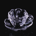 Cheap personalized single wall glass tea cup and saucer