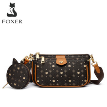 FOXER 2020 New 3 in 1 Crossbody Monogram Bags Signature Women Bag Removable Coin Purse PVC Leather Female Fashion Shoulder Bags